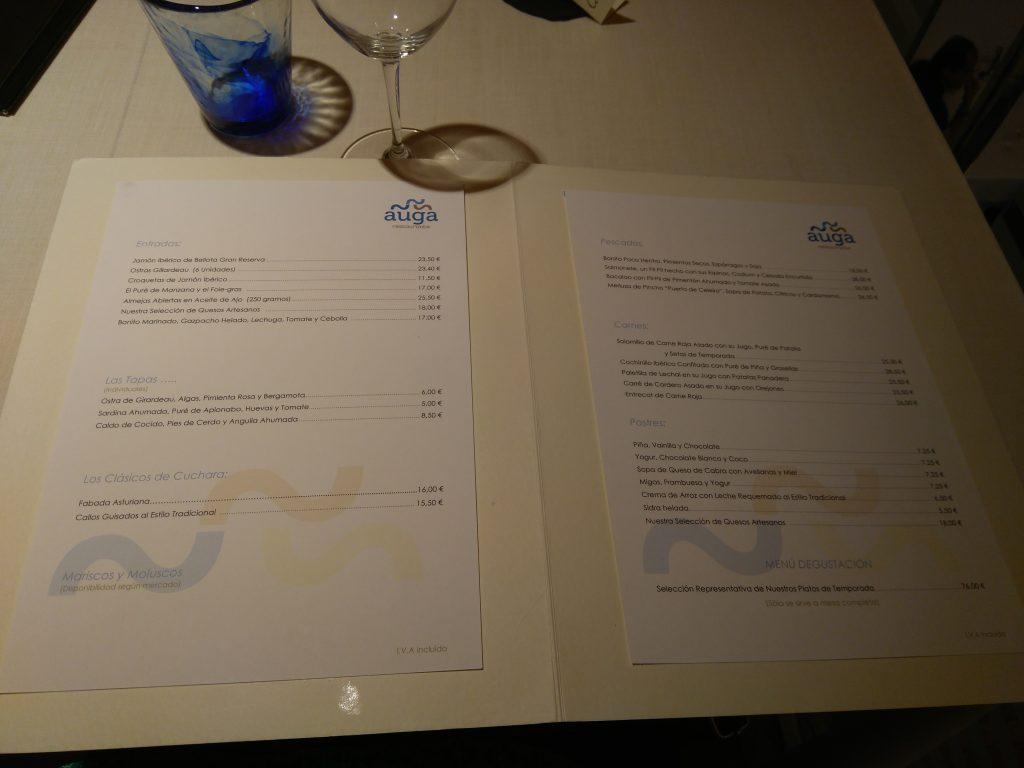 Carta Restaurante Auga