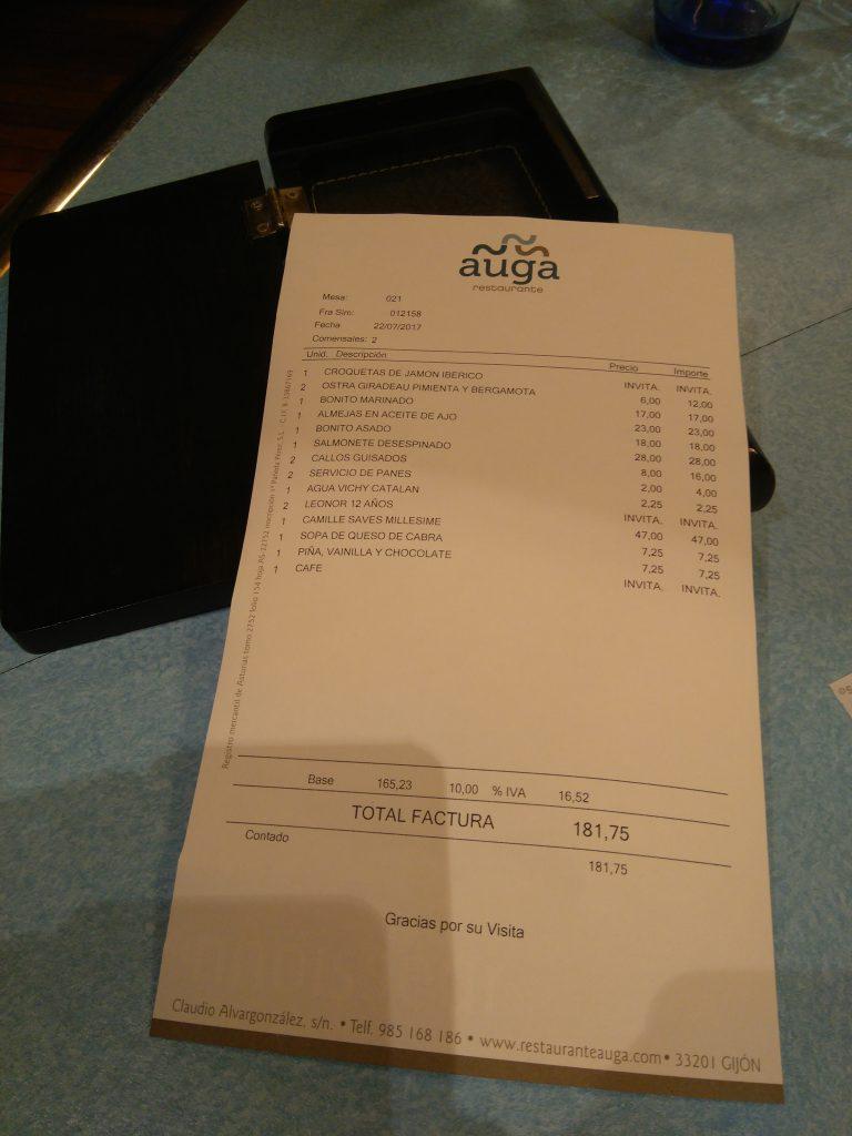 Cuenta Restaurante Auga Gijón